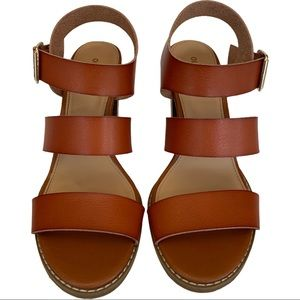 Wide Strap Chucky Block Heel Brown Leather Sandals
